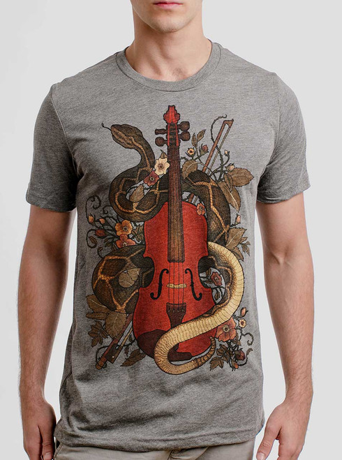 Rattlesnake Violin - Multicolor on Heather Grey Triblend Mens T Shirt