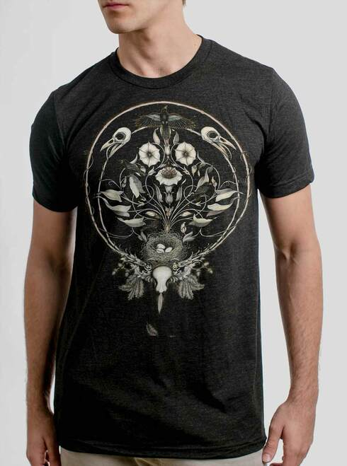 The Raven's Drum - Multicolor on Heather Black Triblend Mens T Shirt