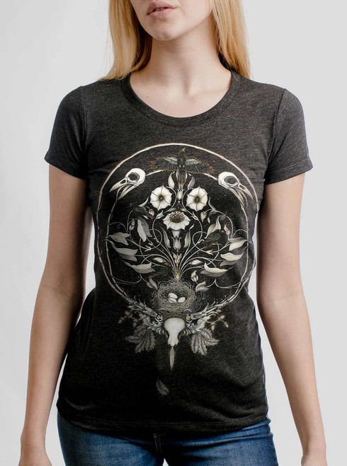 The Raven's Drum - Multicolor on Heather Black Triblend Womens T-Shirt