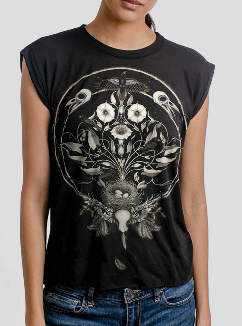 The Raven's Drum - Multicolor on Black Women's Rolled Cuff T-Shirt
