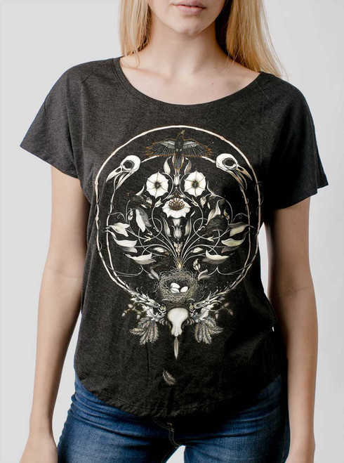 The Raven's Drum - Multicolor on Heather Black Triblend Womens Dolman T Shirt