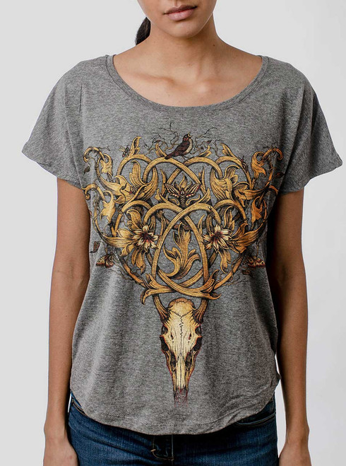 Deer Skull - Multicolor on Heather Grey Triblend Womens Dolman T Shirt