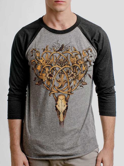Deer Skull - Multicolor on Heather Grey and Black Triblend Raglan