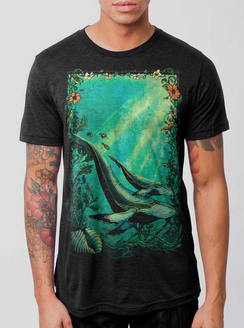 Whales - Multicolor on Heather Black Triblend Mens T Shirt