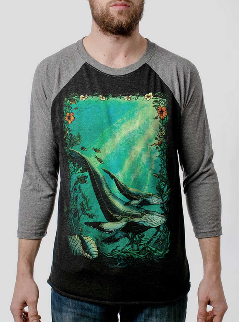 Whales - Multicolor on Heather Black and Grey Triblend Raglan