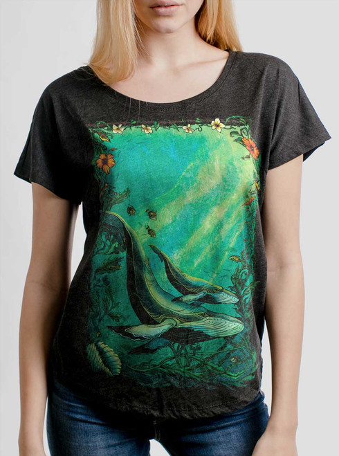 Whales - Multicolor on Heather Black Triblend Womens Dolman T Shirt
