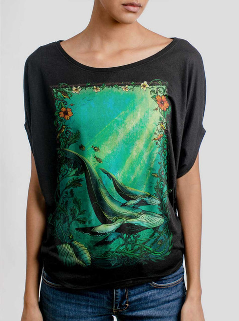 Whales - Multicolor on Black Women's Circle Top