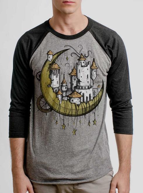 Moon Castle - Multicolor on Heather Grey and Black Triblend Raglan