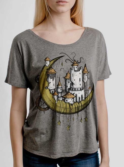 Moon Castle  - Multicolor on Heather Grey Triblend Womens Dolman T Shirt
