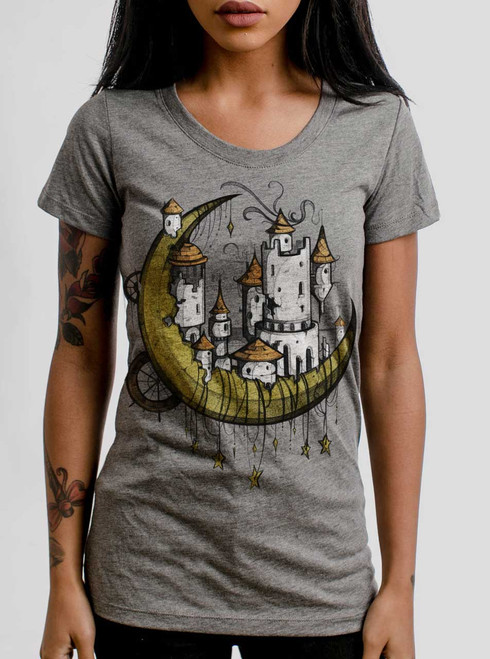 Moon Castle - Multicolor on Heather Grey Triblend Womens T-Shirt