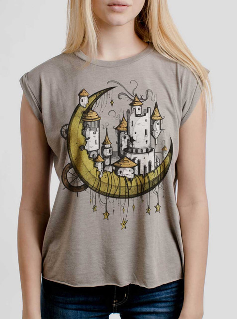 Moon Castle - Multicolor on Heather Stone Women's Rolled Cuff T-Shirt