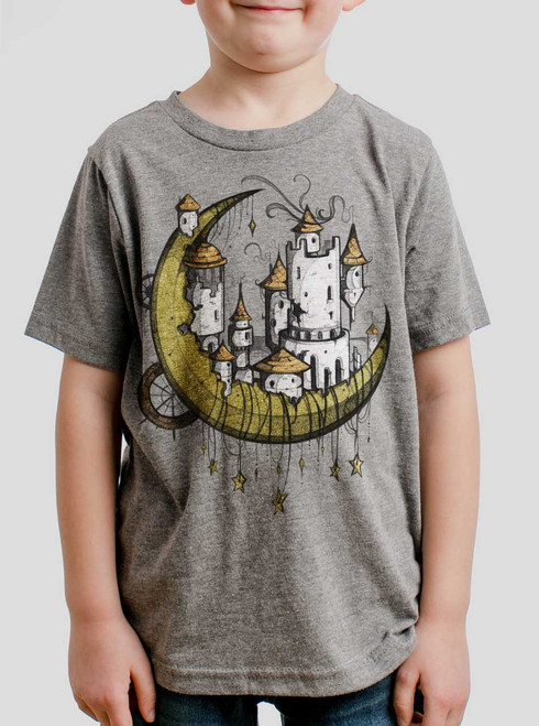 Moon Castle - Multicolor on Heather Grey Triblend Youth T-Shirt