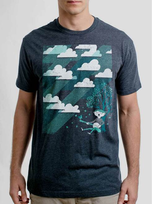 Cloud Song - Multicolor on Heather Navy Mens T Shirt