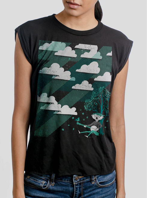 Cloud Song - Multicolor on Black Women's Rolled Cuff T-Shirt