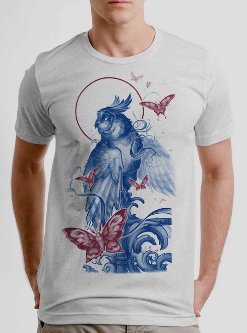Owl and Moths - Multicolor on Heather White Triblend Mens T Shirt