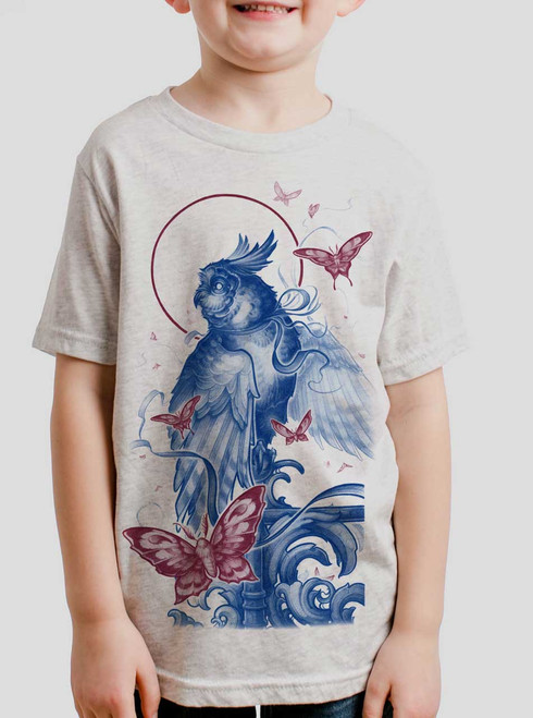 Owl and Moths - Black on Heather White Triblend Youth T-Shirt