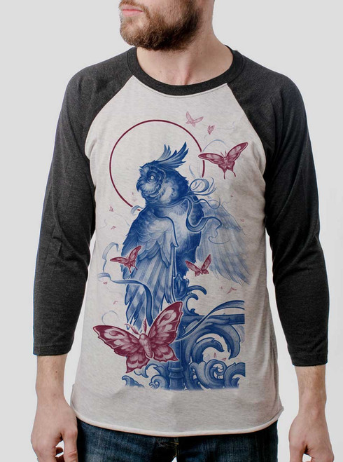 Owl and Moths - Multicolor on Heather White and Black Triblend Raglan
