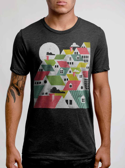 Rooftops - Multicolor on Heather Black Triblend Mens T Shirt