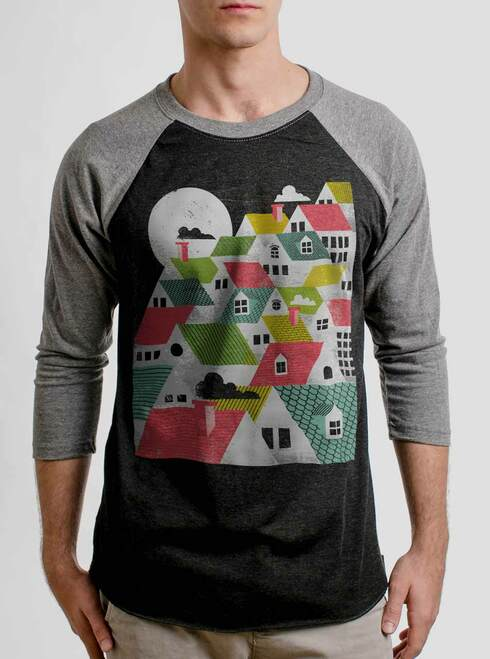 Rooftops - Multicolor on Heather Black and Grey Triblend Raglan