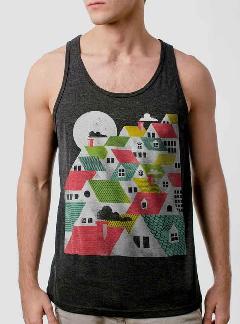 Rooftops - Multicolor on Heather Black Triblend Mens Tank Top