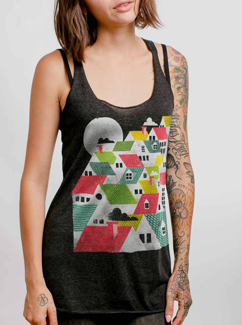 Rooftops - Multicolor on Heather Black Triblend Womens Racerback Tank Top
