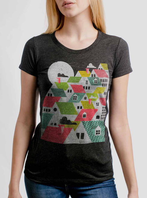 Rooftops - Multicolor on Heather Black Triblend Womens T-Shirt