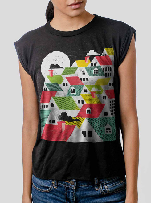 Rooftops - Multicolor on Black Women's Rolled Cuff T-Shirt