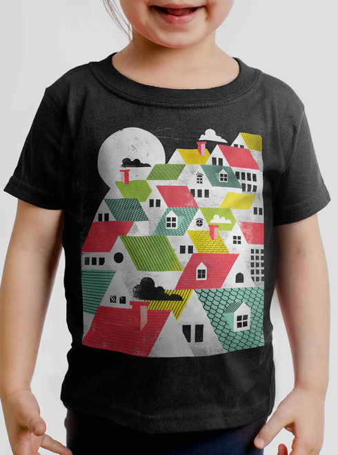 Rooftops - Multicolor on Black Toddler T-Shirt