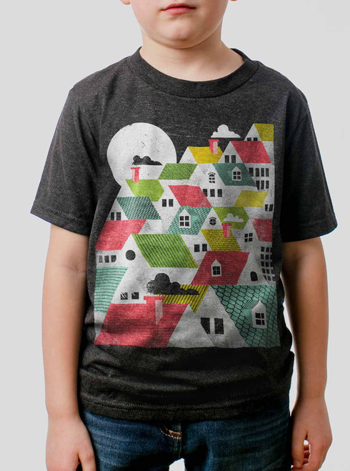 Rooftops - Multicolor on Heather Black Triblend Youth T-Shirt