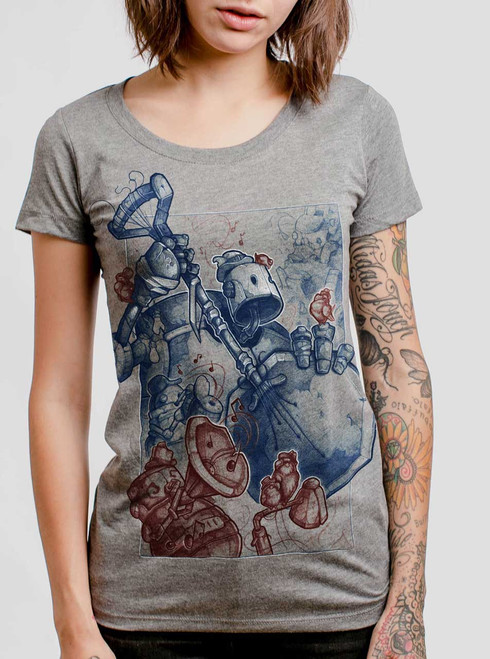 One for the Birds - Multicolor on Heather Grey Triblend Womens T-Shirt