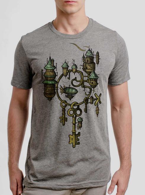 Key Kingdom - Multicolor on Heather Grey Triblend Mens T Shirt