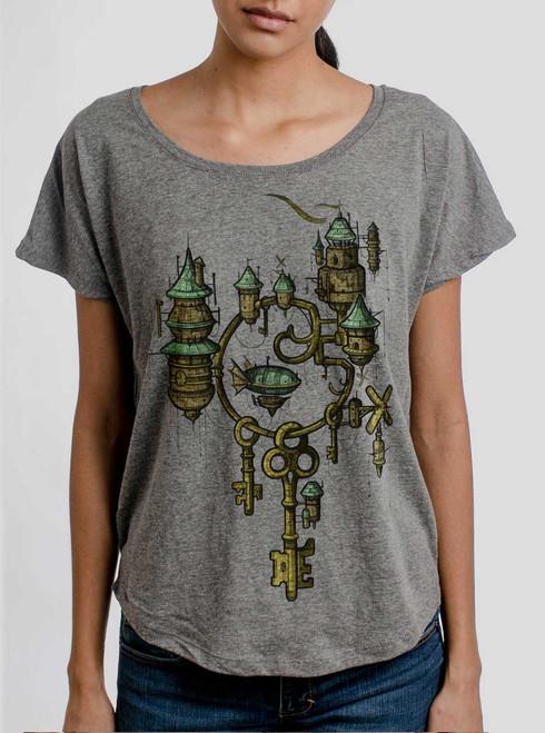 Key Kingdom - Multicolor on Heather Grey Triblend Womens Dolman T Shirt