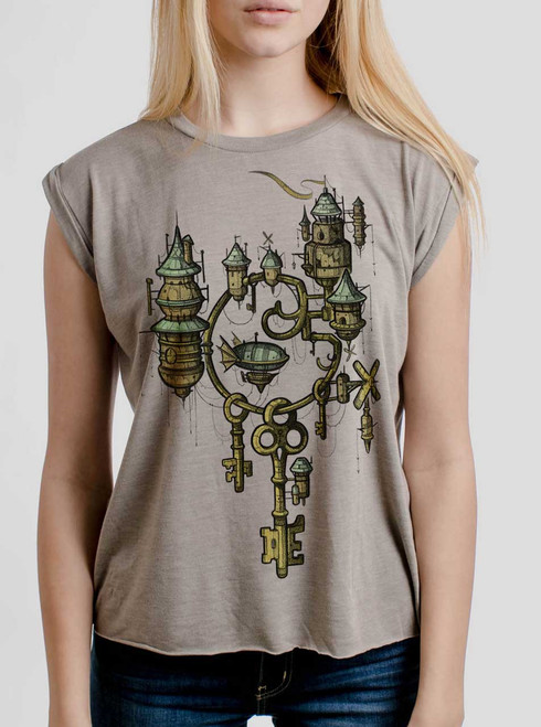 Key Kingdom - Multicolor on Heather Stone Women's Rolled Cuff T-Shirt