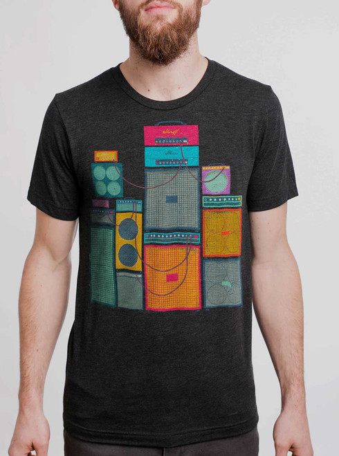Amp Stack - Multicolor on Heather Black Triblend Mens T Shirt