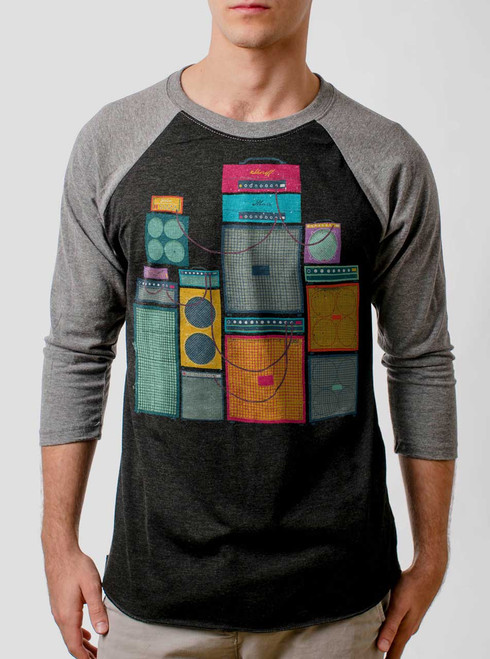 Amp Stack - Multicolor on Heather Black and Grey Triblend Raglan