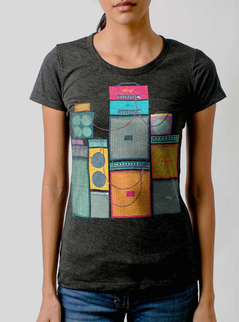 Amp Stack - Multicolor on Heather Black Triblend Womens T-Shirt
