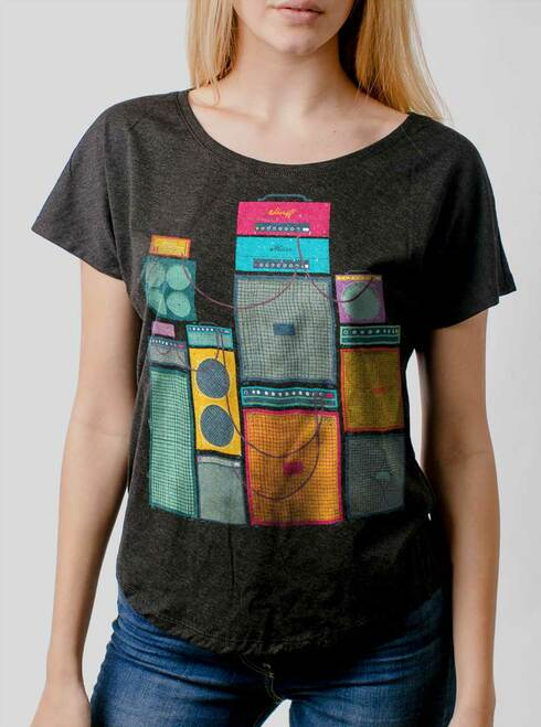 Amp Stack - Multicolor on Heather Black Triblend Womens Dolman T Shirt
