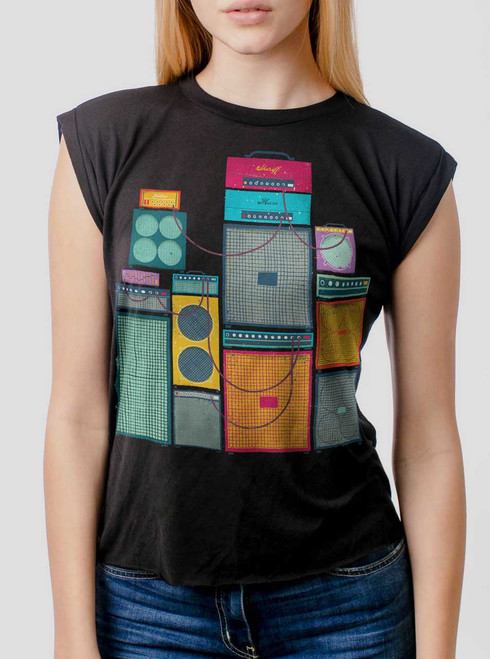 Amp Stack - Multicolor on Black Women's Rolled Cuff T-Shirt