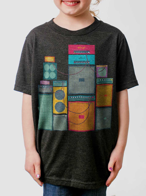 Amp Stack - Multicolor on Heather Black Triblend Youth T-Shirt