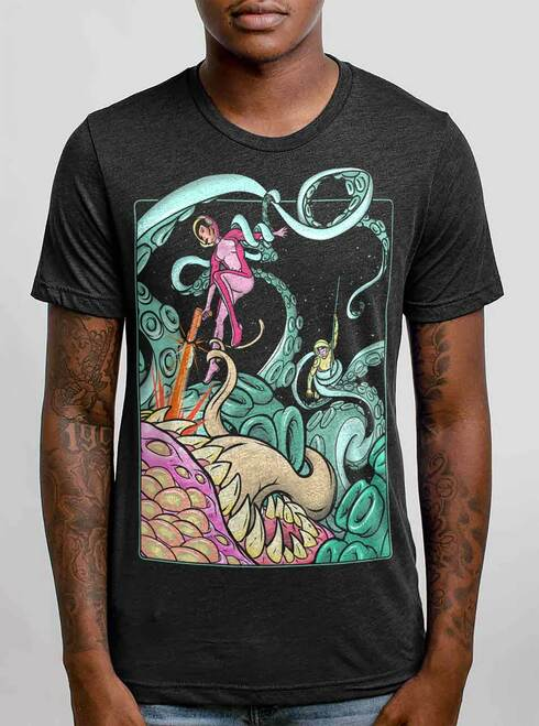 Tentacle Attack - Multicolor on Heather Black Triblend Mens T Shirt