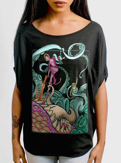 Tentacle Attack - Multicolor on Black Women's Circle Top
