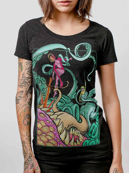 Tentacle Attack  - Multicolor on Heather Black Triblend Womens T-Shirt