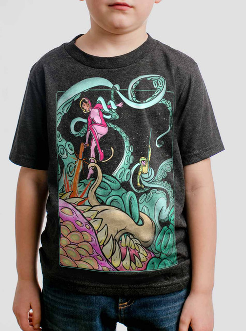Tentacle Attack  - Multicolor on Heather Black Triblend Youth T-Shirt