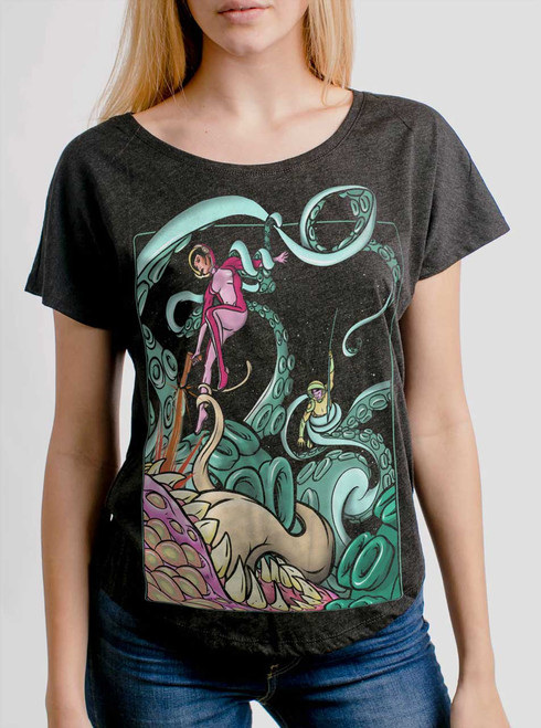 Tentacle Attack  - Multicolor on Heather Black Triblend Womens Dolman T Shirt