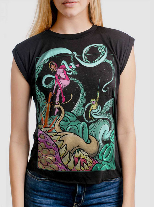 Tentacle Attack - Multicolor on Black Women's Rolled Cuff T-Shirt