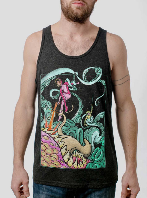 Tentacle Attack - Multicolor on Heather Black Triblend Mens Tank Top