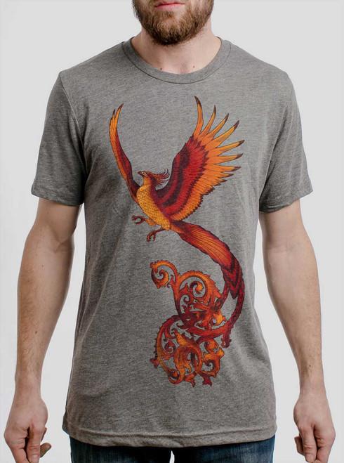 Phoenix - Multicolor on Heather Grey Triblend Mens T Shirt