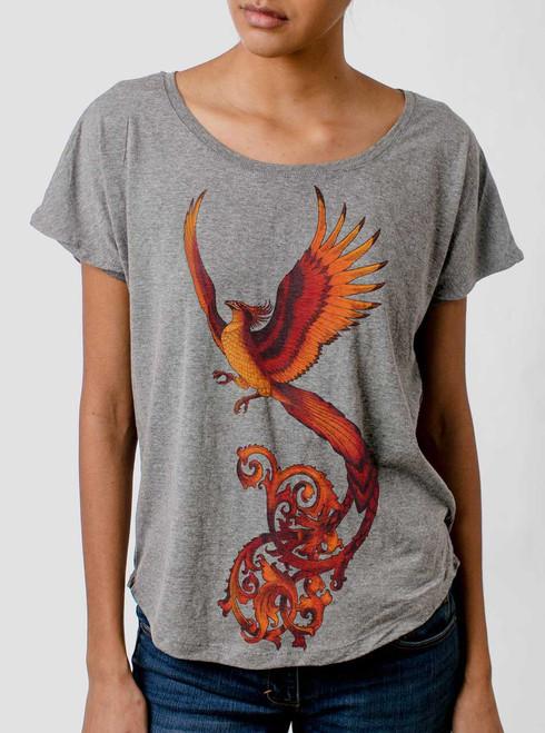 Phoenix - Multicolor on Heather Grey Triblend Womens Dolman T Shirt