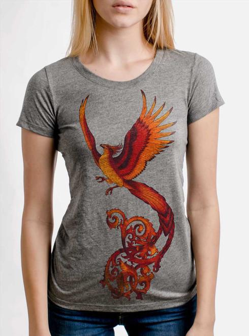 Phoenix - Multicolor on Heather Grey Triblend Junior Womens T-Shirt