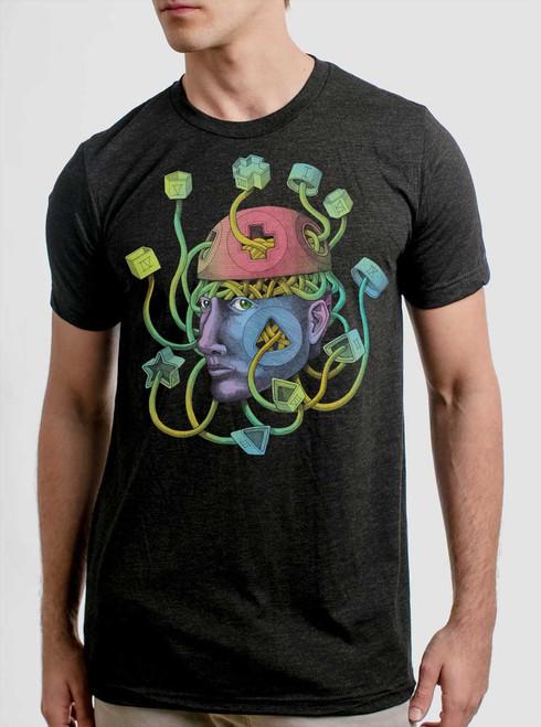 Crazy Brains - Multicolor on Heather Black Triblend Mens T Shirt